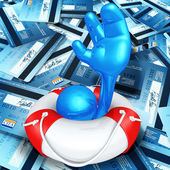 Lifebuoy Help In A Sea Of Credit Cards — Stock Photo