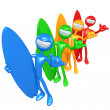 Royalty-Free Stock Photo: Spectrum Shaka Surfers