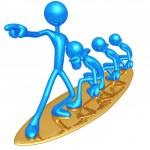 Surfing Team Risk Management — Stock Photo