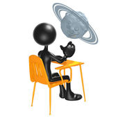 Student With A Planet Above School Desk — Stockfoto