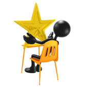 Student With A Gold Star On School Desk — Stock Photo