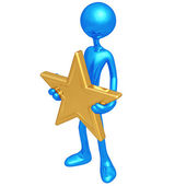 Holding A Gold Star — Stock Photo