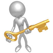 Holding The Golden key — Foto Stock