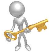 Holding The Golden key — Stock Photo
