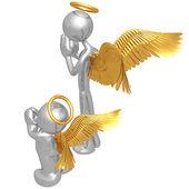 Originale e imitatore angelo — Foto Stock