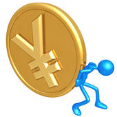 Pushing Gold Yen Coin — Stock Photo