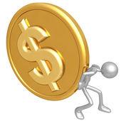 Pushing Gold Dollar Coin — Stock Photo