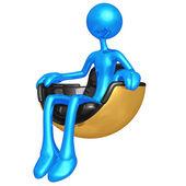 Sentado en la silla futurista asoma — Foto de Stock