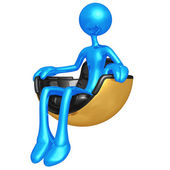 Sitting In Hovering Futuristic Chair — Stock Photo