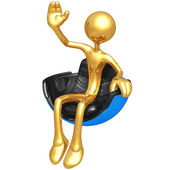 Waving In Hovering Futuristic Chair — Stock Photo