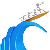 Risk Management Riding Bar Graph Wave — Stock Photo