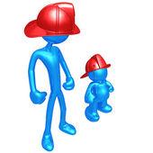 Original and Copycat Firefighter — Stock Photo