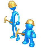 Original och billiga knock off byggnadsarbetare — Stockfoto