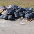 Illegal dumping ground with many black trash bags and waste — Stock Photo