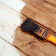 ������, ������: Yellow paint varnish wooden matchboards of darker brown