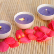 Stock Photo: Three purple candles with rose petals on bamboo