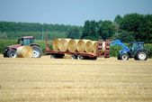 Tractors load bales of hay in farmlands — Stock Photo