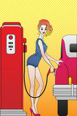 Girl at gas station — Stock Vector