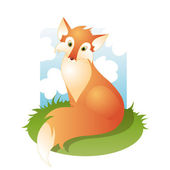 Fox in a meadow — Stock Vector