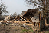 Destroyed the wooden house — Stock Photo