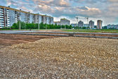 Road construction on a new neighborhood in hdr — Stock Photo