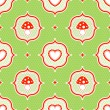 Green polka dot pattern with red toadstool mushroom and heart seamless — Imagen vectorial