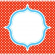 Blue and red polka dot pattern frame - Stock Vector