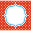 marco de patrón azul y rojo de lunares — Vector de stock