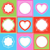 Colorful polka dot frame pattern heart collections — Stock Vector