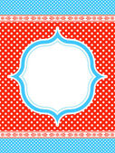 Blue and red polka dot pattern frame — Stock Vector