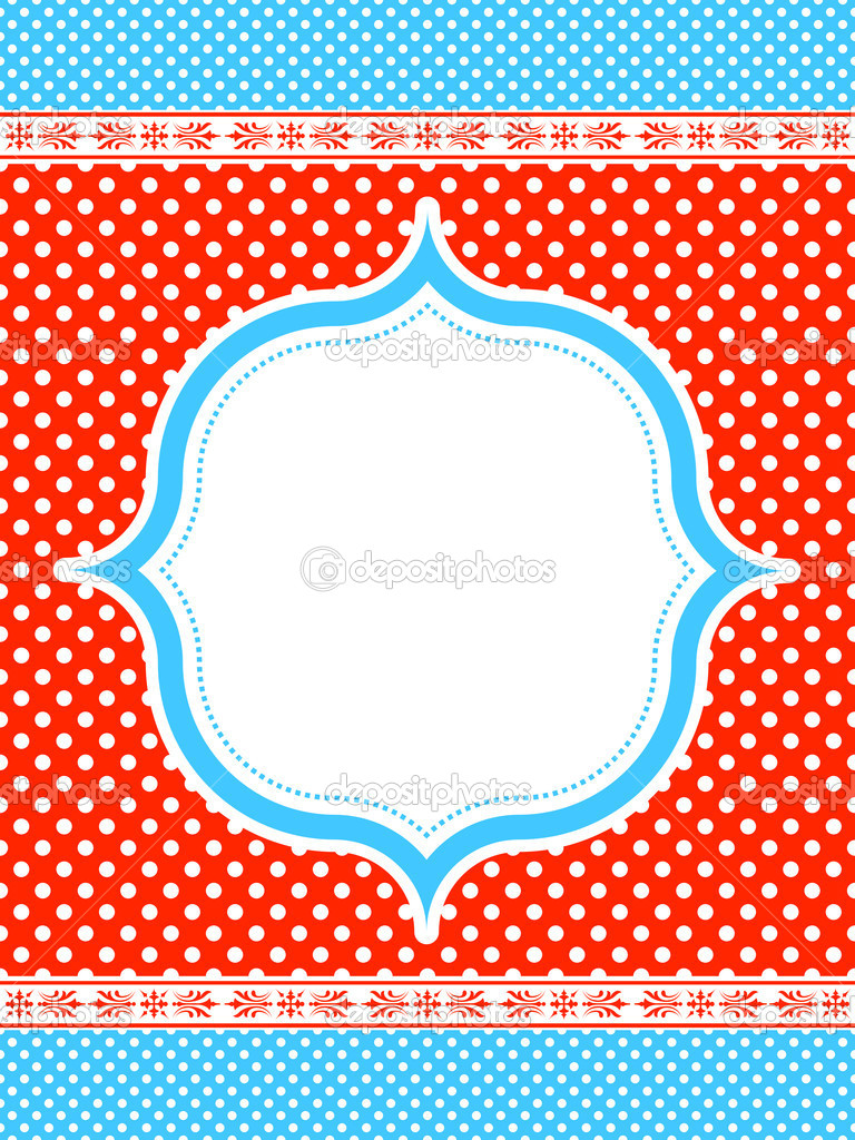 Blue and red polka dot pattern frame  — Stock Vector #7384490