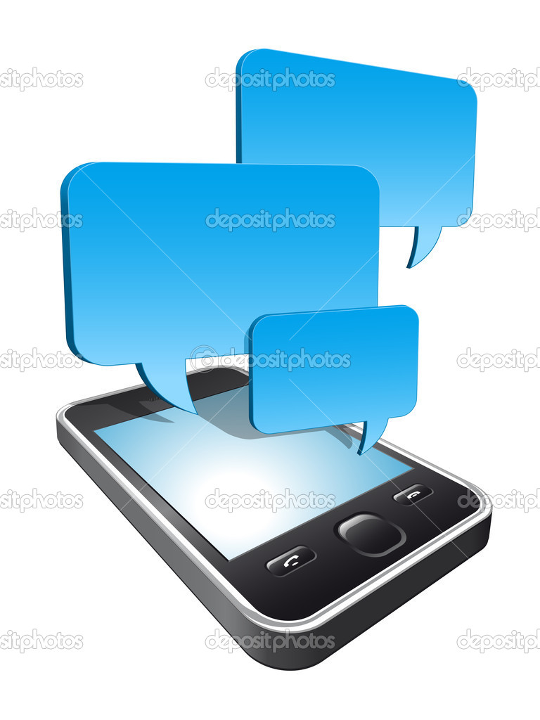 3d smartphone with speech bubbles hovering   Stock Vector #7384547