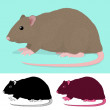 Cartoon Rat Rodent — Vector de stock