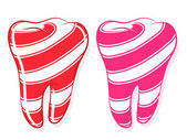 Candy Striped Teeth idiom sweet tooth — Stock Vector