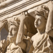 Lecce (Puglia, Italy): old house in baroque style, statues — Stock Photo #7287941