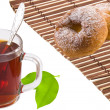 Tea, bagels and tea leaves — Stock Photo