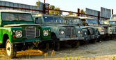 Old land rovers — Stock Photo
