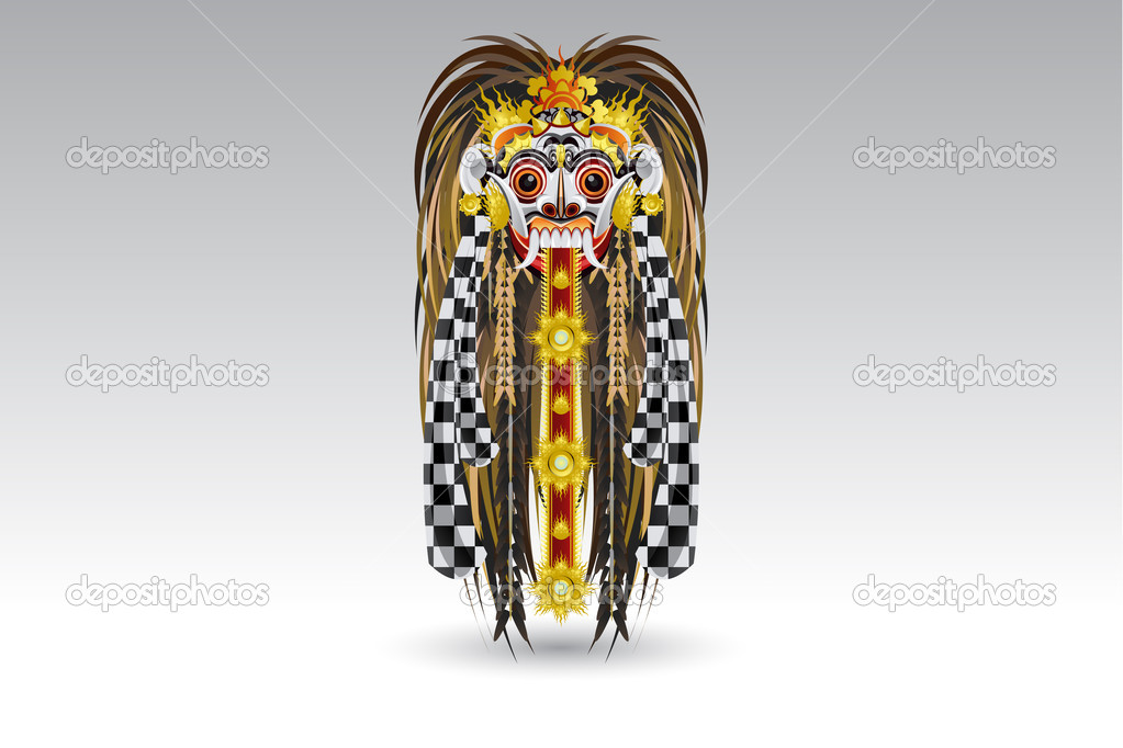 An Illustration Of  Balinese Demon Mask Called Leak .   Stock Vector #6799518
