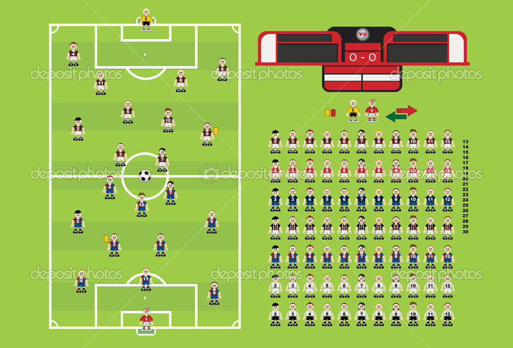 Soccer Footbal vector design elements. Includes vector football, pitches, stadium, soccer football players and scoring board. — Stock Vector #6852228