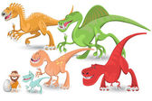 Carnivorous Dinosaurs Collection Set — Stock Vector
