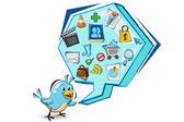 Sosyal medya doodled mavi kuş — Vector de stock