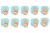 Doodle Number Hand Sign Icons — Stockvector