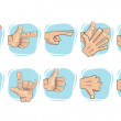 Doodle Hand Sign Icons — Stock vektor
