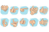 Doodle Hand Sign Icons — Stock Vector