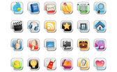 社会媒体的不干胶标签图标 — 图库矢量图片