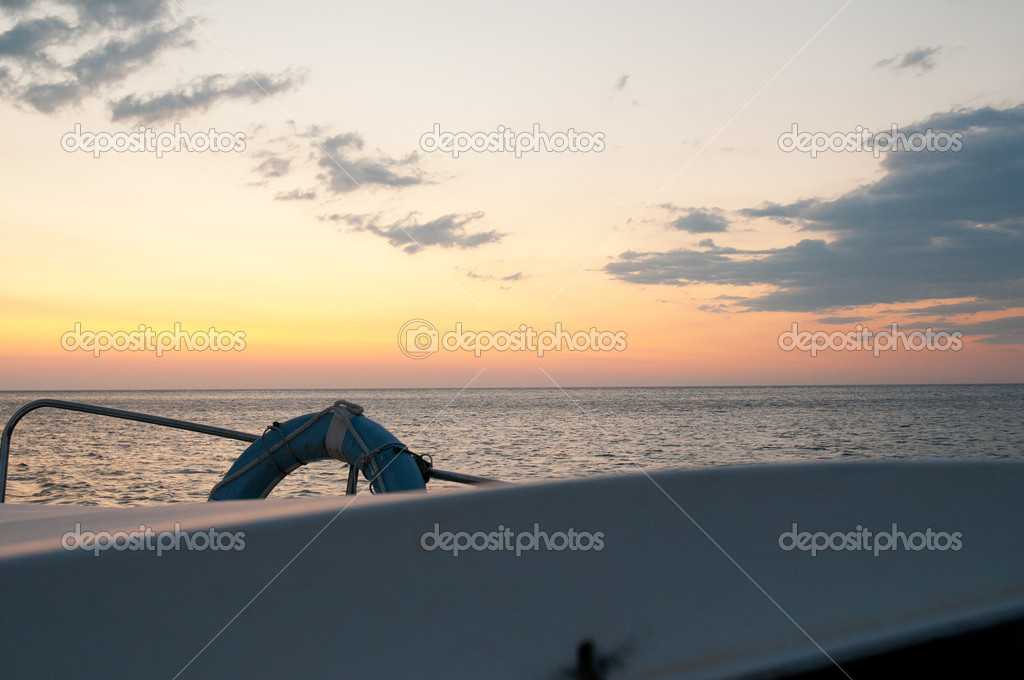 Sea seen from the boat in the mediterranean coast — Stock Photo #6837504