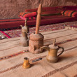 Arabic coffee pots,Grinder in a Bedouin tent — Stock Photo