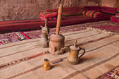 Arabic coffee pots,Grinder in a Bedouin tent — Zdjęcie stockowe