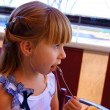 The little girl in cafe — Stock Photo #7248043