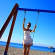 Stock Photo: The girl on a swing